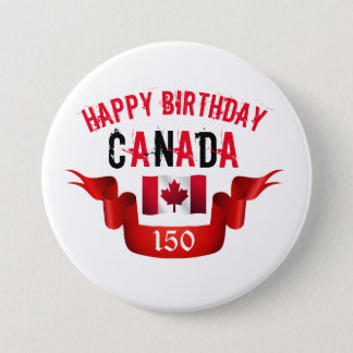 Bóton Redondo 7.62cm Aniversário de Canadá do feliz aniversario 150th -