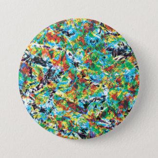 Bóton Redondo 7.62cm Arte colorida do teste padrão de flor do primavera