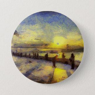 Bóton Redondo 7.62cm Arte do por do sol de Bosphorus Istambul