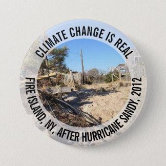 Bóton Redondo 7.62cm As alterações climáticas são reais, botão de Sandy