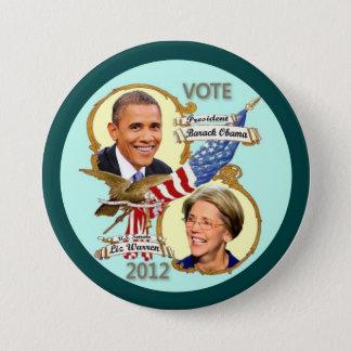 Bóton Redondo 7.62cm Barack Obama & Elizabeth Warren 2012