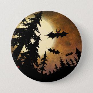 Bóton Redondo 7.62cm Bastões do Dia das Bruxas, floresta assustador na