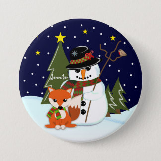 Bóton Redondo 7.62cm Boneco de neve bonito do Natal e Fox e nome feito