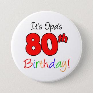 Bóton Redondo 7.62cm Botão alemão do vovô da festa de aniversário do 80