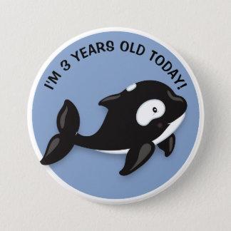 Bóton Redondo 7.62cm Botão branco preto bonito do aniversário da orca