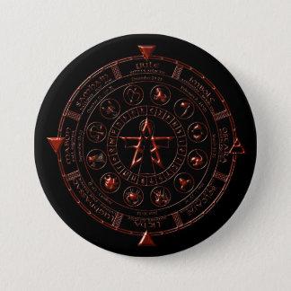 Bóton Redondo 7.62cm Botão celta do zodíaco do rubi do ébano