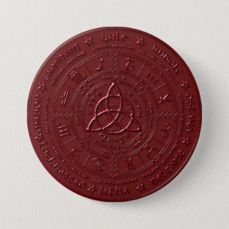 Bóton Redondo 7.62cm Botão celta vermelho do zodíaco do rubi