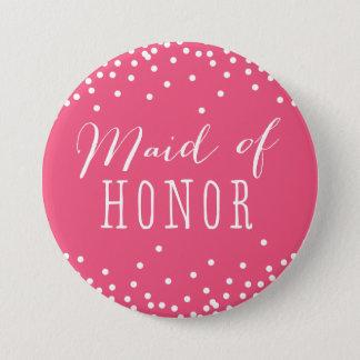 Bóton Redondo 7.62cm Botão cor-de-rosa da madrinha de casamento do