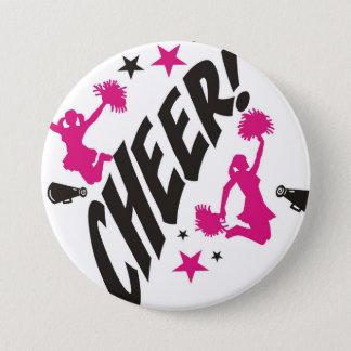 Bóton Redondo 7.62cm Botão cor-de-rosa de Pinback do cheerleader