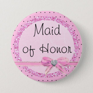Bóton Redondo 7.62cm Botão cor-de-rosa e preto da madrinha de casamento