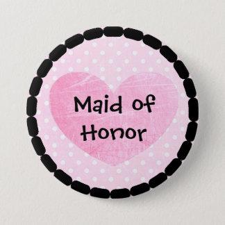 Bóton Redondo 7.62cm Botão cor-de-rosa e preto do chá de panela da
