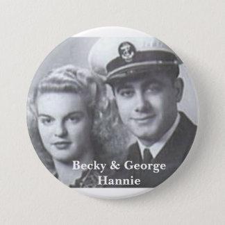 Bóton Redondo 7.62cm Botão de Becky & de George Hannie