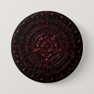 Bóton Redondo 7.62cm Botão de Ogham do céltico do rubi do ébano
