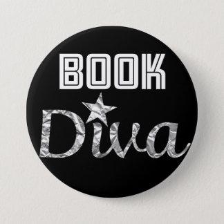 Bóton Redondo 7.62cm Botão de prata da diva do livro