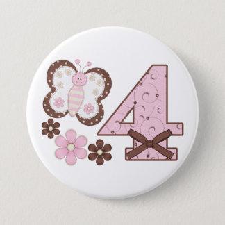 Bóton Redondo 7.62cm Botão do aniversário da borboleta cor-de-rosa 4o