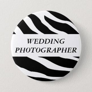 Bóton Redondo 7.62cm Botão do casamento da zebra do fotógrafo do