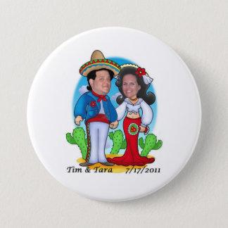 Bóton Redondo 7.62cm Botão do casamento de Tara e de Tim