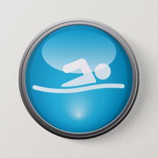 Bóton Redondo 7.62cm Botão do dia da raça da NATAÇÃO do Triathlon