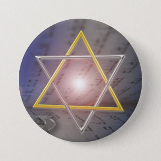 Bóton Redondo 7.62cm Botão do judaísmo de Menorah da estrela de David