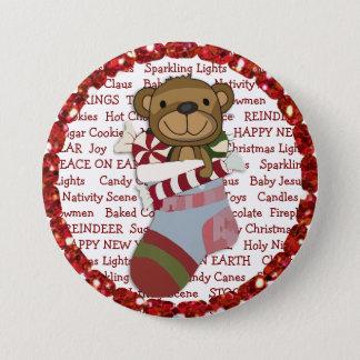 Bóton Redondo 7.62cm Botão do Natal com o urso de ursinho na meia