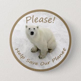 Bóton Redondo 7.62cm Botão do urso polar