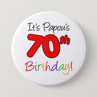 Bóton Redondo 7.62cm Botão grego do vovô da festa de aniversário do 70