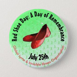 Bóton Redondo 7.62cm Botão memorável da doença de Lyme do dia vermelho