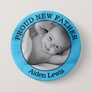 Bóton Redondo 7.62cm Botão novo orgulhoso azul do pai do bebé