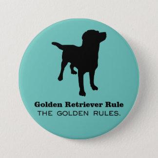Bóton Redondo 7.62cm Botão redondo da regra do golden retriever