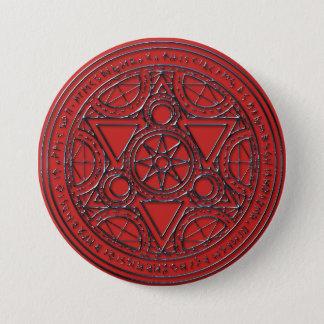 Bóton Redondo 7.62cm Botão Runic mágico do círculo do rubi