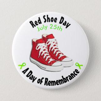 Bóton Redondo 7.62cm Botão vermelho dos calçados do dia vermelho dos