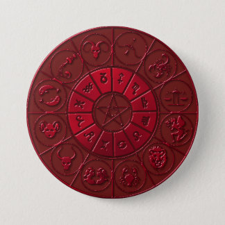 Bóton Redondo 7.62cm Botão Zodiacal do rubi