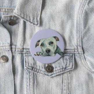 Bóton Redondo 7.62cm Cabeça grande de Ol - pintura da aguarela do cão