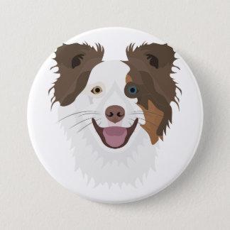 Bóton Redondo 7.62cm Cara feliz border collie dos cães da ilustração