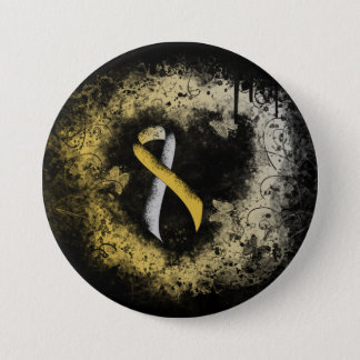 Bóton Redondo 7.62cm Coração do Grunge da fita do ouro e da prata