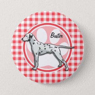 Bóton Redondo 7.62cm Dalmatian; Guingão vermelho e branco