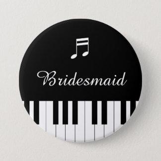 Bóton Redondo 7.62cm Dama de honra do botão do casamento do teclado de