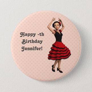 Bóton Redondo 7.62cm Dançarino bonito do Flamenco (personalizado)