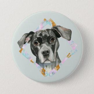 """Bóton Redondo 7.62cm De """"pintura da aguarela do cão do pitbull todas as"""