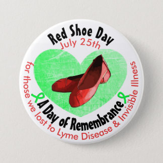 Bóton Redondo 7.62cm Dia vermelho dos calçados, um dia de relembrança