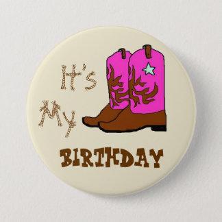 Bóton Redondo 7.62cm É meus botões ocidentais das botas do aniversário