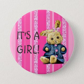 Bóton Redondo 7.62cm É um botão do bebê do coelho do vintage da menina