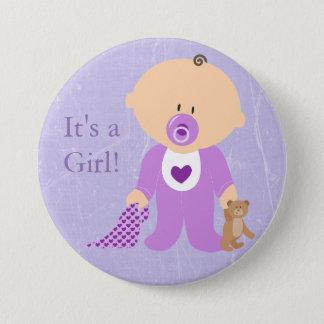 Bóton Redondo 7.62cm É um botão roxo do bebê da menina
