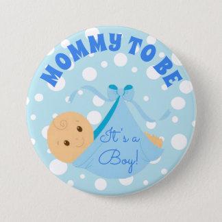 Bóton Redondo 7.62cm É um menino, bebê azul das bolinhas do botão do