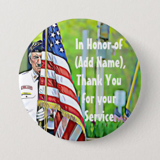 Bóton Redondo 7.62cm Em honra de seu botão das forças armadas do