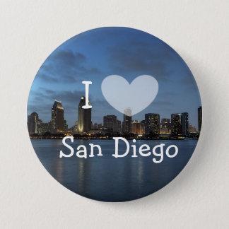 Bóton Redondo 7.62cm Eu amo o botão de San Diego Califórnia