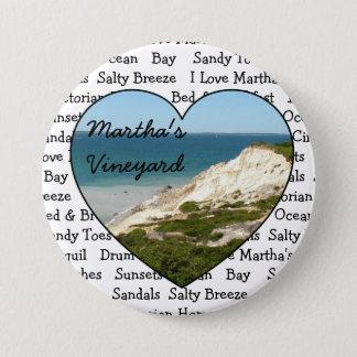 Bóton Redondo 7.62cm Eu amo o botão do coração do Martha's Vineyard