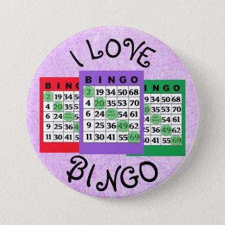 Bóton Redondo 7.62cm Eu amo o botão dos cartões do BINGO