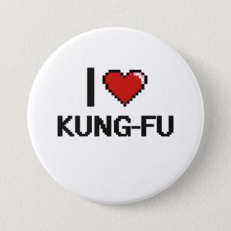 Bóton Redondo 7.62cm Eu amo o design retro de Kung-Fu Digital