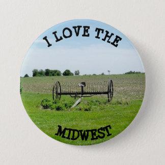 Bóton Redondo 7.62cm Eu amo o MIdwest que cultiva o botão da paisagem